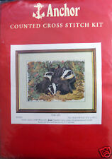 Counted Cross Stitch Kit by Anchor, 3 English Badgers in a Flower Patch! Lovely!
