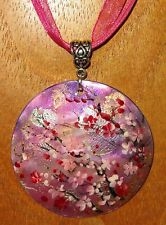 Russian hand painted Shell FUSCHIA ART PENDANT Japanese SAKURA tree PINK FLOWERS
