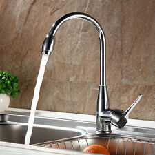 Swivel Steel Spout Kitchen Single Handle Faucet Sink Pull Down Spray Mixer Tap