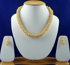 Bollywood Bridal Jewellery White Pearl Necklace Free Shipping Earrings Set SSC40