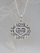 925 Sterling Silver Heart Pendant Necklace Circle Love Message Jewerly NEW
