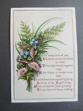 Antique Christmas Card Floral Spray 1879 CROWN PERFUMERY COMPANY New Bond St