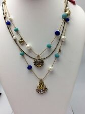Betsey Johnson Shipshape Anchor and Bead Illusion Multu-Color Necklace $48
