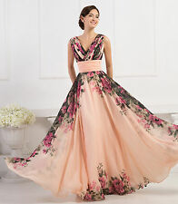 Sale For Women V-Neck Formal Chiffon Ball Gown Evening Prom Dresses Plus Size 24