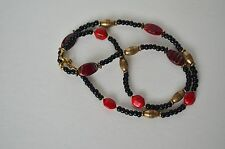 Red Natural Jasper Gemstone Brass Black Bead Necklace 24""