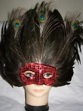 Beautiful Peacock Feather Attractive Party Mask ! Red !
