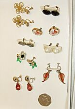 CLASSIC VINTAGE COLLECTION LOT OF 8 SCREW EARINGS SET [A] AS SHOWN IN PHOTOGRAPH