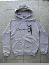 100% Authentic DSQUARED Happy Lucky Man Hoddie Sweater Grigio S W. NUOVO 71gp274 RAR