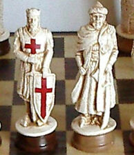 "MASSIVE CRUSADERS CHESS SET - K = 4.75"" (White Statues)"