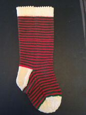 "Knit Christmas Stocking Hand Handmade Striped Green Red 20"" Made By Paula Stripe"