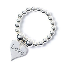 925 Sterling Silver Ball Bead Ring with Love Heart Charm RR005