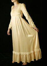 EXC Vtg 70s GUNNE SAX Blush Lace Wedding Victorian Boho Bridal Maxi Dress S-XS