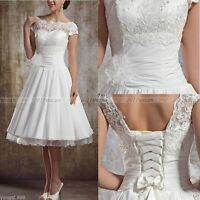 2016 Stock New White/Ivory Lace Short Wedding Dress Bridal Gown Size 6 -18