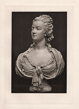 """Outstanding 1800s Antique Print """"Bust of Marie Antoinette the Beauty"""" Framed COA"""