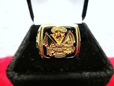 US Army Ring Bradford Exchange Solid S Silver 24K Gold Plt Genuine Black Onyx 14