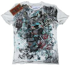 Amplified saint & traditionnel Dagger skull strass gothique Cross rock star t-shirt G. 48