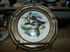 Lot of 2 Duck Ring neck Collector Plates Metal Framed
