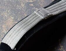 Grooved steel mesh 19mm curved ends U.K. made vintage watch bracelet NOS 1950/60