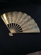 Asian Brass Fan Dragon Motif Wall Hanging With Hardware Vintage