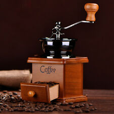 Adjustable Wooden Manual Hand Crank Coffee Bean Mill Grinder Antique Style NEW
