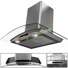 """30"""" Kitchen Wall Mount Stainless Steel Glass Range Hood Stove Vents Touch Panel"""