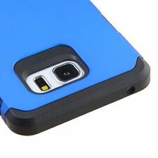 FOR SAMSUNG Galaxy Note 5 BLUE BLACK FUSION RUBBERIZED SKIN ACCESSORY CASE COVER