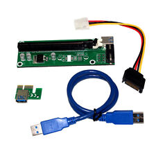 USB 3.0 PCI-E Express 1x to 16x Extender Riser Card Adapter SATA Power Cable New