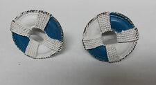 2 BLUE & WHITE LIFE RING CAST PEWTER DRAWER CABINET PULLS KNOBS HARDWARE