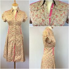 Ladies Pink Red Multi Colour Paisley 40s Vintage Empire Lin Shirt Dress UK 12/14