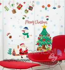 Christmas Tree Santa Snowman Snow Wall Stickers Removable Kid Decal Office Decor