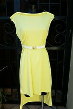 NWTS Seduce Black Label Yellow High Low Belted Dress,Feature Neck Size10 RRP$189