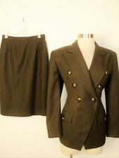 CHRISTIAN DIOR Brown Fitted Wool Pocket Pencil Skirt Suit 6 8