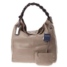 ARCADIA Italian Made Natural Taupe Leather Oversized Designer Hobo Bag & Pouch