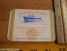 1960's Masters License cabin cruiser Angelena City of Los Angeles boat license
