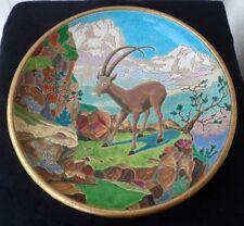 Emaux de Longwy , grand plat creux décor chamois