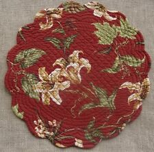 LILY GARDEN Quilted Reversible Round Placemat by C & F - Red, Green, Gold, Cream