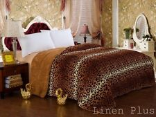 3 Piece Leopard Brown Plush Super Soft Sherpa Blanket King Size New