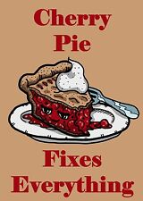 Cherry Pie Fixes Everything Food Humor Cartoon Rectangle Refrigerator Magnet New
