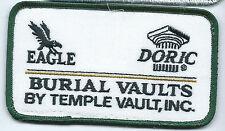 Eagle Doric Burial Vaults Temple Vaults Inc patch 2-1/2X4-3/8 Frankfort IL #952
