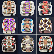 CHIC Easy Magic Wood Beads Double Hair Comb Clip Stretchy Women Hair Accessories
