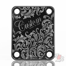 Engraved Guitar Neck Joint Heel Plate (Standard 4 Bolt) BLACK #2079