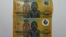 1988 Ten Dollars Second Release First Prefix Consecutive Pair Banknotes