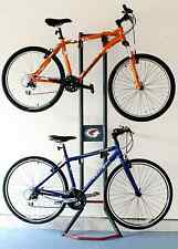 Gravity Bicycle Stand 2 Bikes Upright Storage Rack Hold Garage Shed Space Saver
