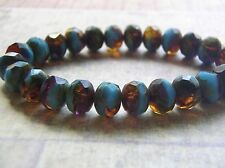 French Blue and Amber 8 x 6 mm Czech Glass Rondelle Beads 10 Beads