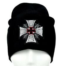 Spider Web Iron Cross Beanie Knit Cap Metal Motorhead Psychobilly MilitaryThrash
