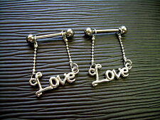 """Nipple Rings Shields Pair With Barbells ML39 Sexy Adult Porn Star """"LOVE"""" Word"""