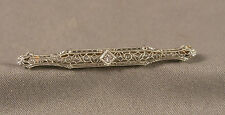 Antique Edwardian 14K White Gold & Diamond Filigree Bar Pin Brooch by KREMENTZ