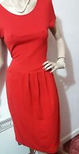 JAEGER  FITTED DRESS SIZE UK 10 USA 8 RED 68% viscose 40% wool 2% elastane