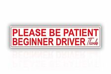 Zone Tech Beginner Driver Please Be Patient Student Magnet Decal Safety Sign