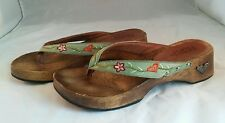 "ROXY Wood Flip Flops Sz 9 M ""Genie"" Embroidered Floral Leather Upper"